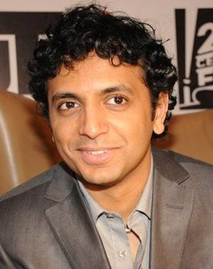 English: M. Night Shyamalan announcing The Hap...