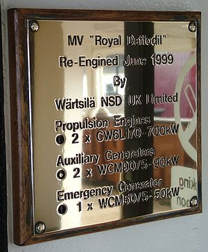MV Royal Daffodil - MV Royal Daffodil engine specifications plaque, added during the 1998-99 refit