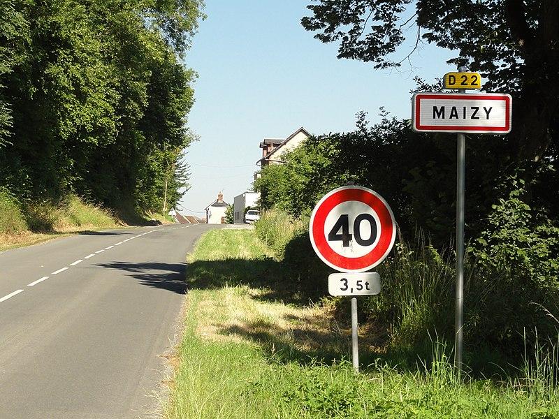 Maizy (Aisne) city limit sign