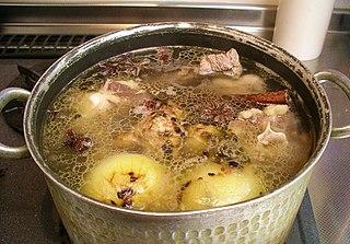 Stock (food) flavoured liquid foodstuff