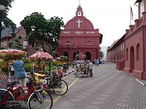Dutch Malacca - The Dutch Square, with Christ Church (left, built in 1753) and the Stadthuys (right).