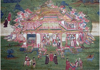 Mani (prophet) - Mani's Parents, a 14th/15th-century silk painting depicts Mani's parents sitting in a palatial building.