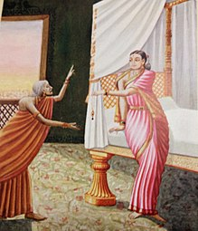 Manthara, a hunch back woman is giving wrong advice to Kaikeyi, the queen in the picture.jpg
