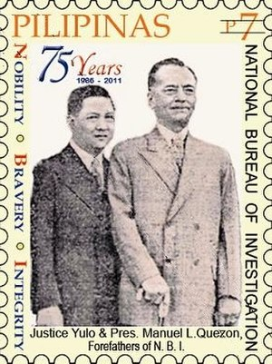 National Bureau of Investigation (Philippines) - José Yulo and Manuel L. Quezon, the forefathers of the National Bureau of Investigation, on a 2011 stamp of the Philippines
