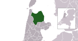 Highlighted position of Hollands Kroon in a municipal map of North Holland