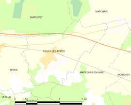 Mapa obce Coucy-lès-Eppes