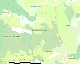 Mapa obce Revest-les-Roches