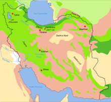 map of biotopes of iran showing location of dasht e kavir beige oval at right center