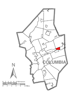 Map of Briar Creek, Columbia County, Pennsylvania Highlighted.png