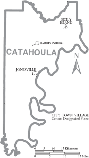 Catahoula Parish, Louisiana - Map of Catahoula Parish, Louisiana With Municipal Labels