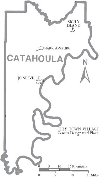 Catahoula Parish, Louisiana - Map of Catahoula Parish, Louisiana With Municipal Labels