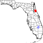 A state map highlighting Flagler County in the corner part of the state. It is medium in size.