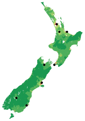 George FM - This is a map of George FM frequencies operating in 2016.