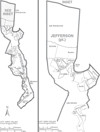 Jefferson Parish, Louisiana - Map of Jefferson Parish with municipal labels