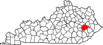 State map highlighting Breathitt County