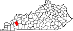 State map highlighting Caldwell County