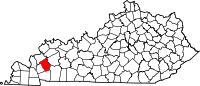Map of Kentucky highlighting Caldwell County