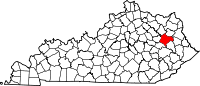 Map of Kentucky highlighting Morgan County