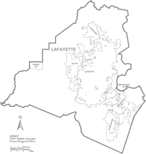 Lafayette Parish, Louisiana - Map of Lafayette Parish, Louisiana With Municipal Labels