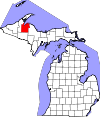 State map highlighting Baraga County
