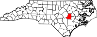 Locatie van Wayne County in North Carolina