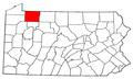 Map of Pennsylvania highlighting Warren County.png