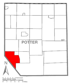 Map of Potter County, Pennsylvania highlighting Portage Township