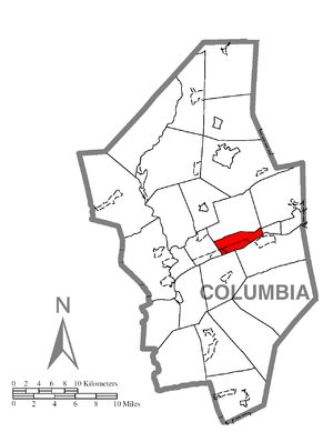 South Centre Township, Columbia County, Pennsylvania - Image: Map of South Centre Township, Columbia County, Pennsylvania Highlighted