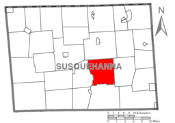 Map of Susquehanna County Pennsylvania highlighting Harford Township.PNG