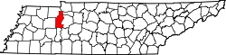 map of Tennessee highlighting Benton County