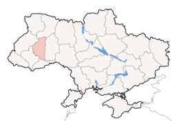 Location o Ternopil Oblast' (red) athin Ukraine (blue)