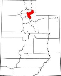 Map of Utah highlighting Morgan County