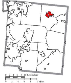 Map of Warren County Ohio Highlighting Waynesville Village