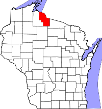 Map of Wisconsin highlighting Iron County