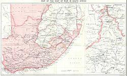 Carte de l Afrique australe au moment de la Seconde Guerre des Boers. La frontière avec les colonies allemandes du   Südwest Afrika   apparaît à gauche