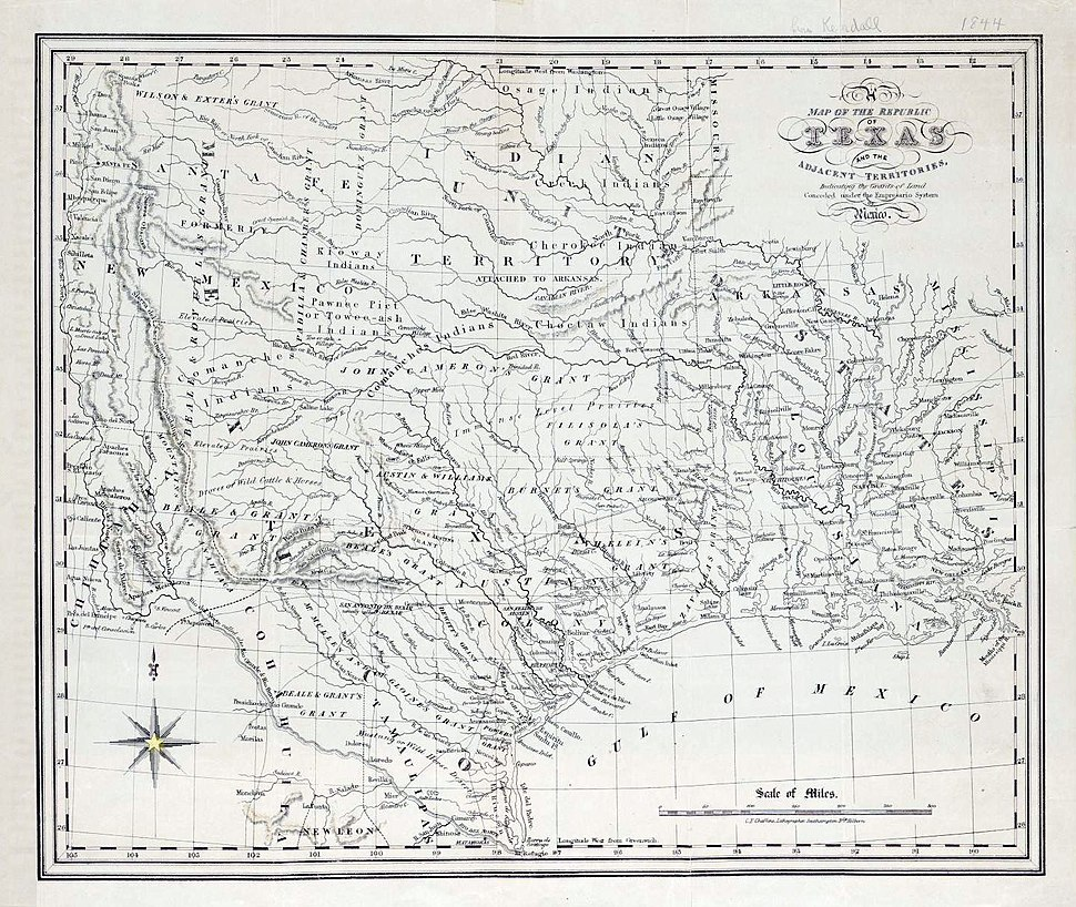 Map of the Republic of Texas and the Adjacent Territories, 1841