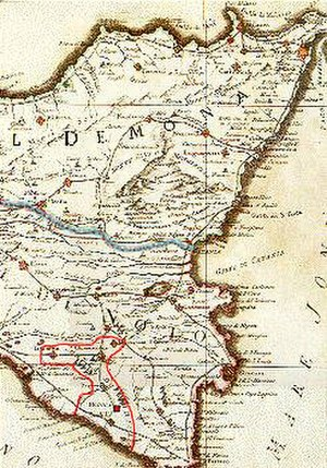 County of Modica - Historical map of the island Sicily (18th century), showing the County of Modica between the red line.
