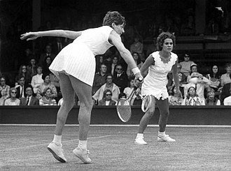 Margaret Court - Margaret Court playing doubles at Wimbledon with Evonne Goolagong