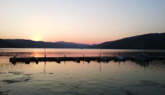 Donji Milanovac - Marina in Donji Milanovac during sunset