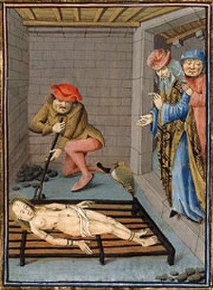 Cançó de Santa Fe - Martyrdom of Saint Faith in a late medieval illustration