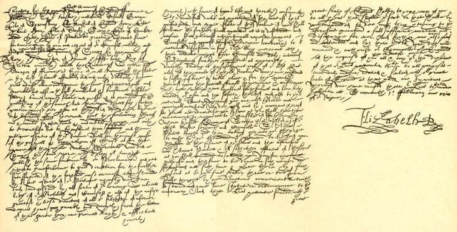 Смертный приговор, подписанный Елизаветой I