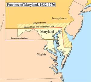 Map of the Province of Maryland showing the area in dispute with Pennsylvania Marycolony.png
