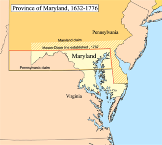 Mason–Dixon line - Province of Maryland, 1632–1776