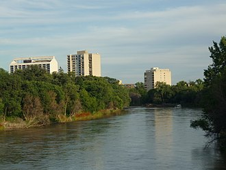 Assiniboine River - A view of the Assiniboine River looking southeast from the Maryland Bridge in Winnipeg