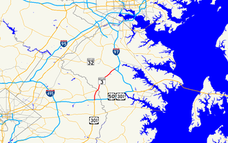 Maryland Route 3 - Image: Maryland Route 3 map