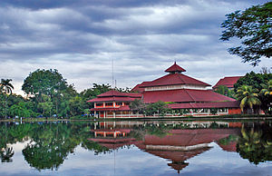 Indonesian Islamic architecture - This modern mosque in the University of Indonesia with its multi-tiered roofs follows the traditional architecture of a mosque found in the Indonesian archipelago.
