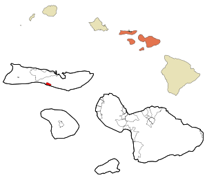 Maui County Hawaii Incorporated and Unincorporated areas Kaunakakai Highlighted.svg
