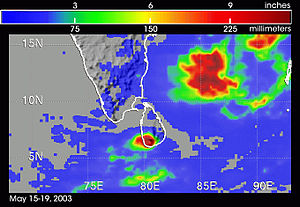 2003 Sri Lanka cyclone - Satellite-derived precipitation rates related to the storm from May 15–19; Sri Lanka is in the bottom center with the highest totals in a dark shade of red