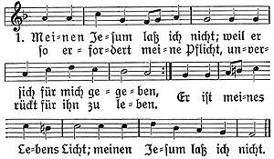 Meinen Jesum laß ich nicht - The hymn with the common (third) melody by Johann Ulich
