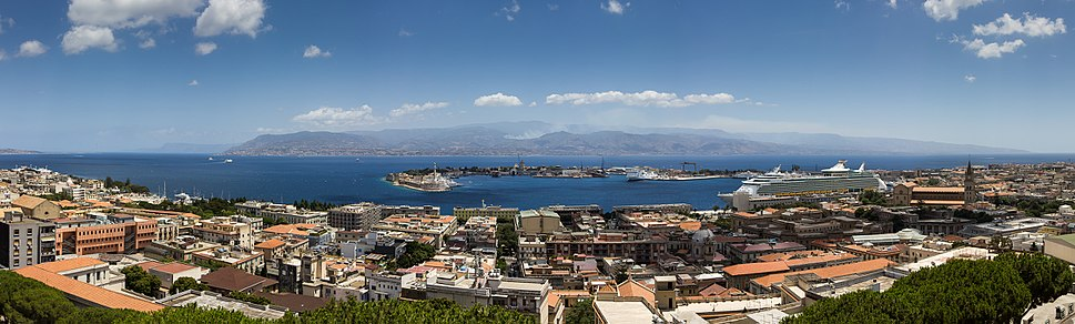 Panorama of Messina Strait seen from Messina towards the Italian mainland. Reggio Calabria can be seen on the right.
